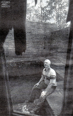 Bath Time: Mervyn Clayton, a member of Friends of Gledhow Valley Woods, sits near the plunge pool which is fed by a natural spring within the bath house