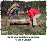 Setting a bench in concrete