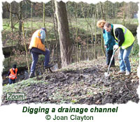 Digging a drainage channel