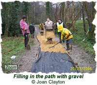 Filling in the path with gravel