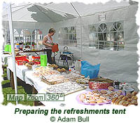 Preparing the refreshments tent