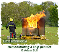 Demonstrating a chip pan fire