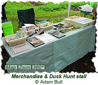 Merchandise and Duck Hunt stall