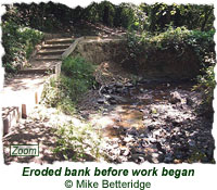 Eroded bank before work began
