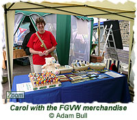 Carol with the FGVW merchandise
