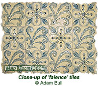 Close-up of faience tiles