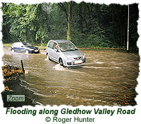 Flooding along Gledhow Valley Road