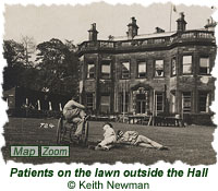 Patients on the lawn outside the Hall